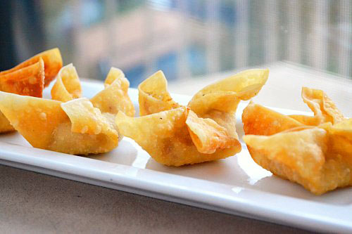 Crispy Bacon and Onion Wonton Flowers