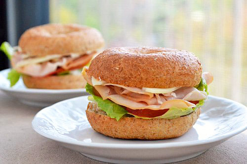 Mini Bagel Sandwiches with Turkey, Lettuce, and Tomato
