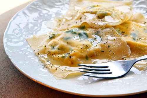 Spinach and Sausage Ravioli