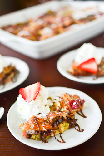 Strawberry, Banana &amp; Nutella Bread Pudding