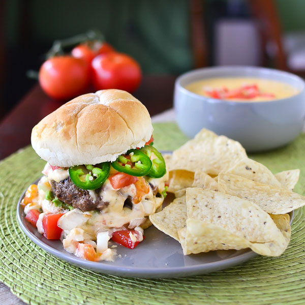 Tex-Mex Burger (Slightly adapted from Confections of a Foodie Bride )