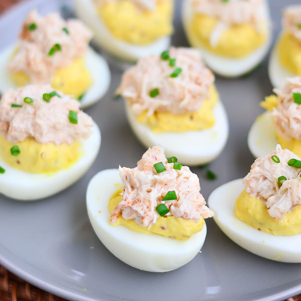 Chili Crab Deviled Eggs