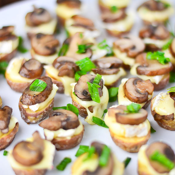 Roasted Potato Bites with Brie & Mushrooms