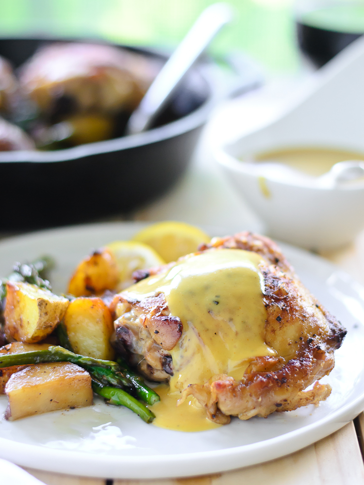 Pan Roasted Chicken, Potatoes & Asparagus with Truffle Honey Mustard ...